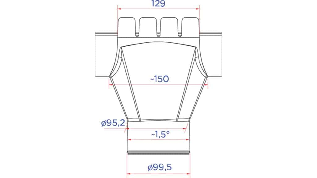 Воронка выпускная D125X100 чертеж