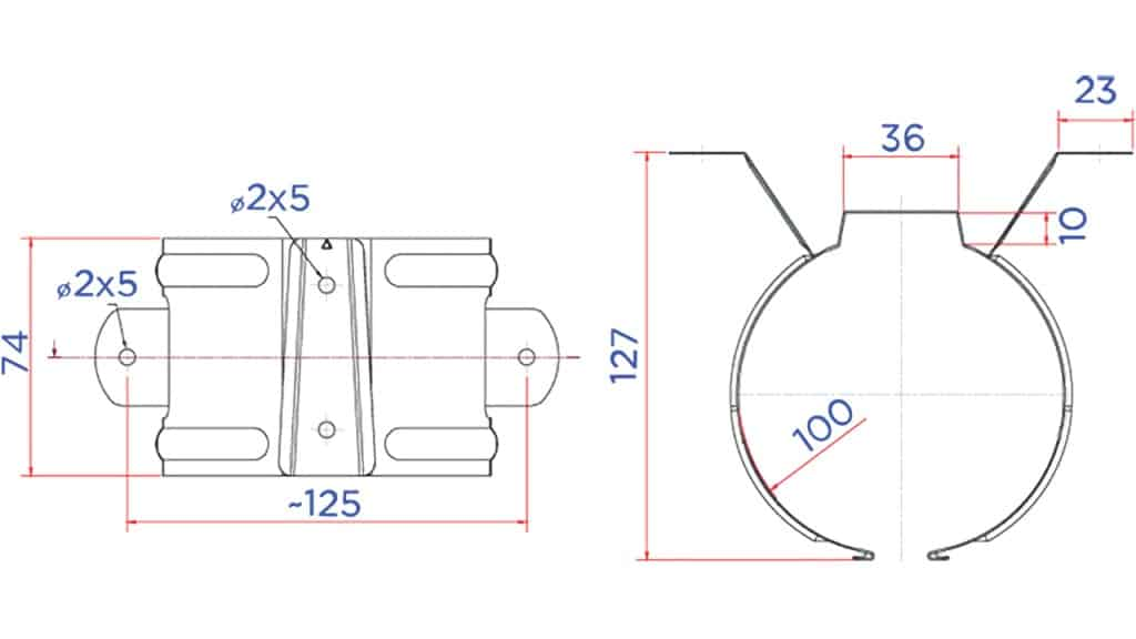 Держатель трубы D100 чертеж