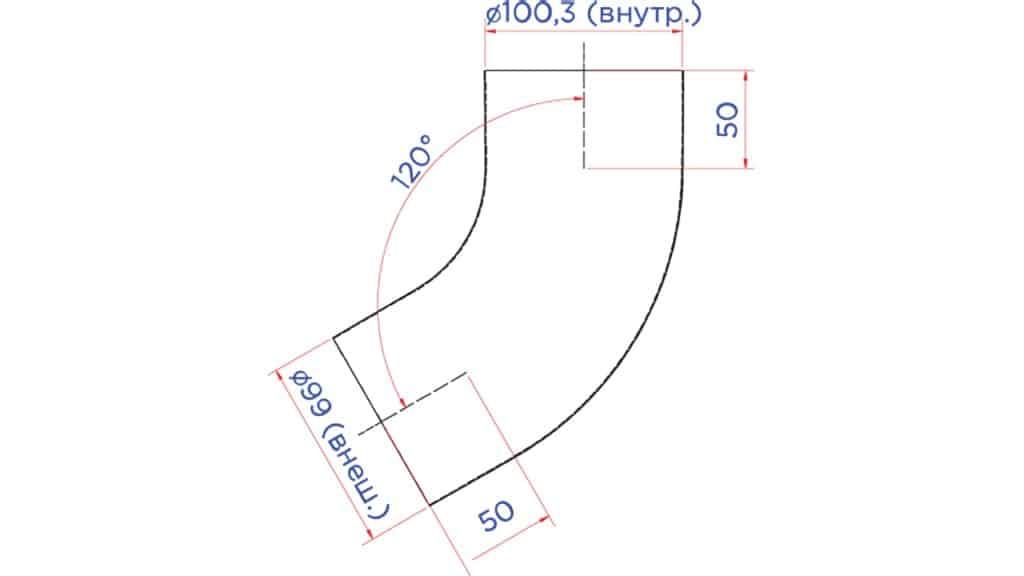 Колено трубы D100 чертеж