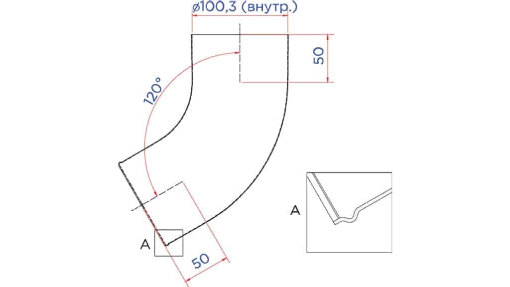 Колено трубы сливное D100 чертеж - Водосток NIKA