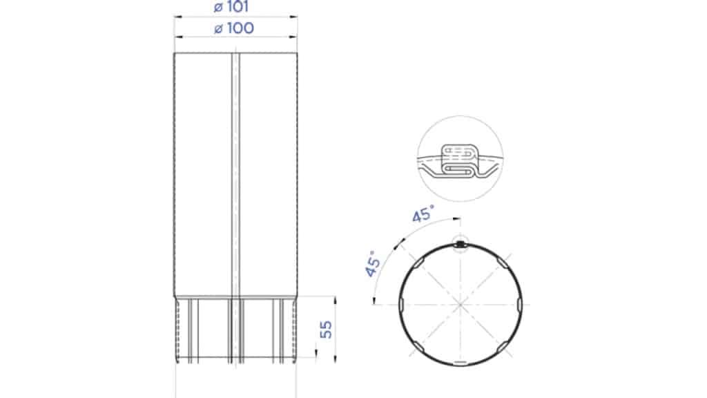 Труба водосточная D100 чертеж - Водосток NIKA