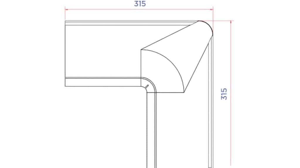 Внутренний угол желоба D125 чертеж - Водосток NIKA