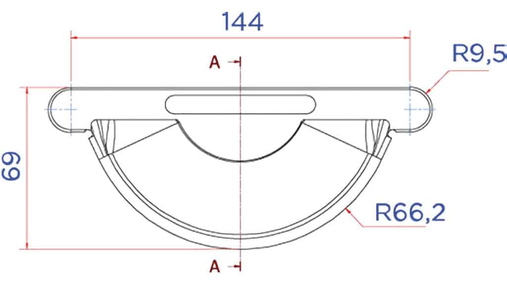 Заглушка желоба D125 чертеж